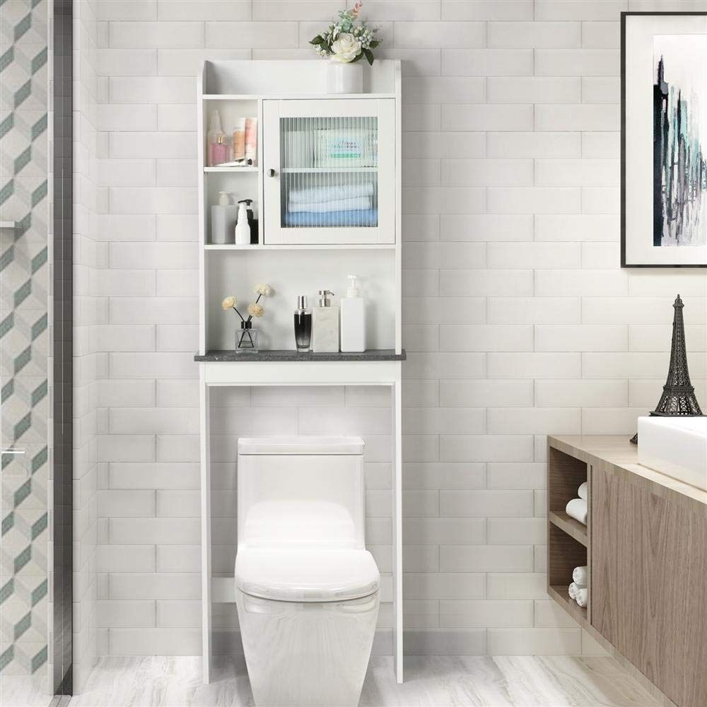 Yaheetech Over The Toilet Cabinet Space Saving Bathroom Cabinet Toilet Storage Over Toilet Storage Over Toilet Storage Cabinet