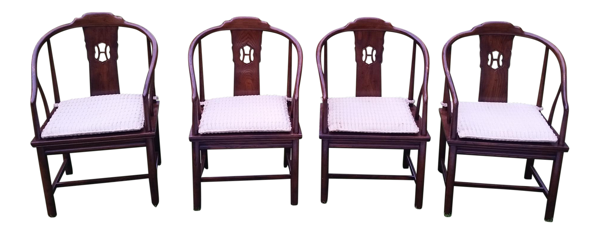 Henredon Asian Dining Chairs Tan Leather Arm Chair Cane Room Set Of 4 On Chairish Com