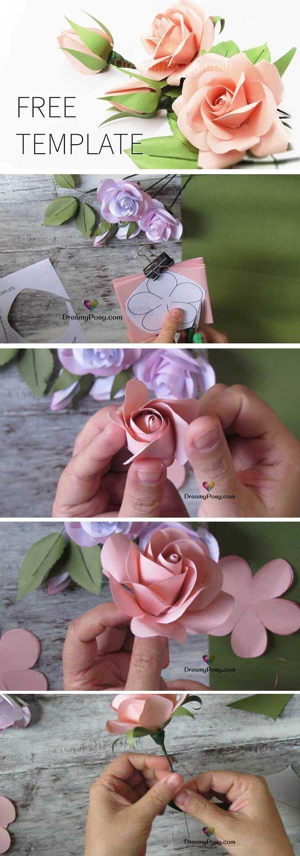 Einfaches Tutorial zum Erstellen einer Papierrose, KOSTENLOSE Vorlage - DIY Papier Blog #easypaperflowers