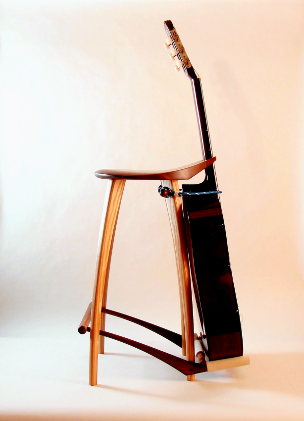 wooden guitar rack