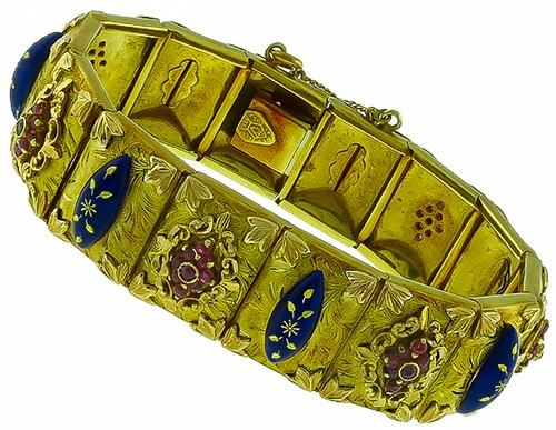 Vintage_2.50ct_Ruby_Enamel_Gold_Bracelet | New York Estate Jewelry | Israel Rose