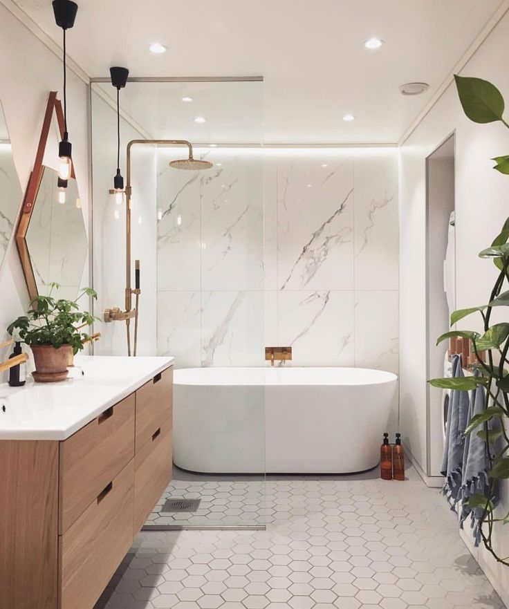 Modern Master Bathroom Ideas With Freestanding Tub And Shower Area I M Obsessed With These Wal Bathroom Interior Design Bathroom Design Modern Master Bathroom