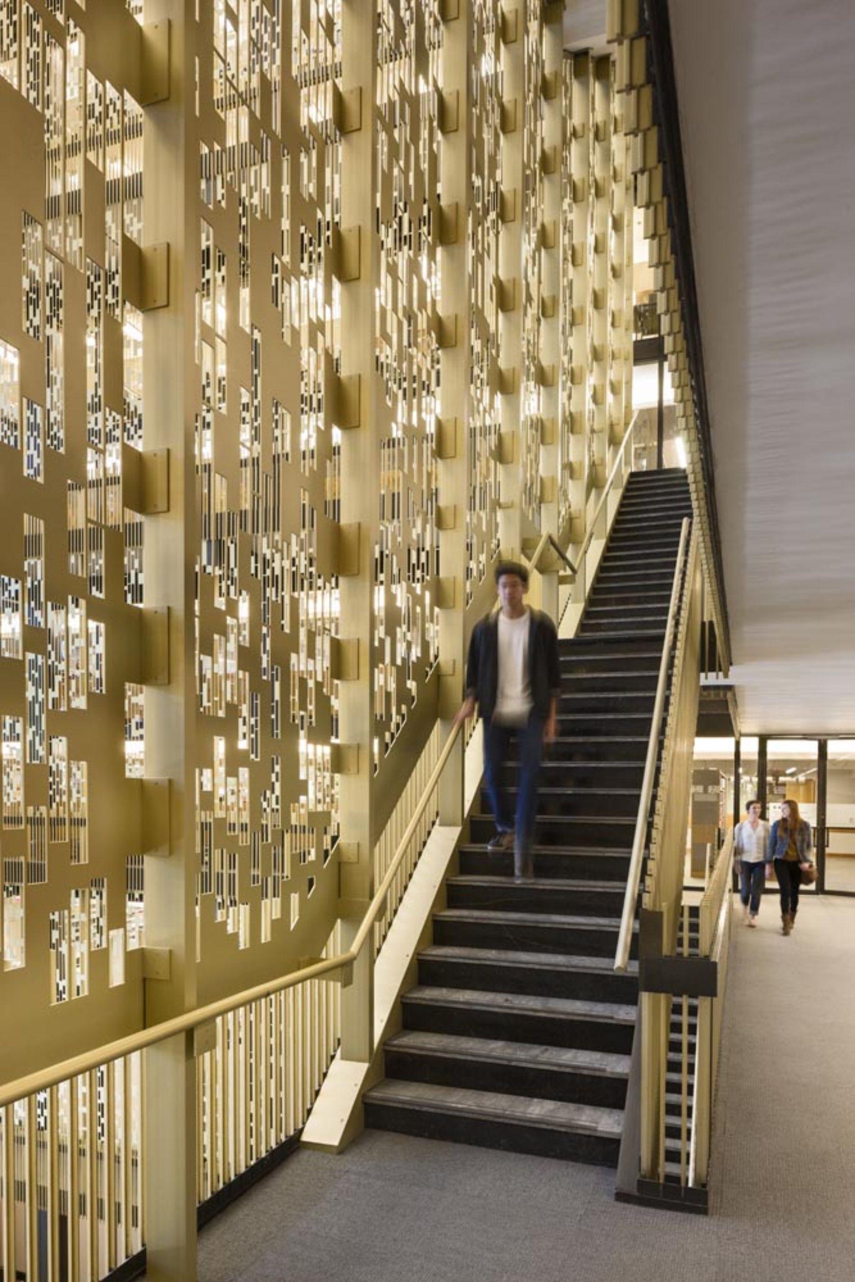 NYU Bobst Library Pixel Veil   Interiors in 2019   Bobst