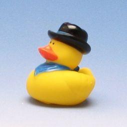 Badeente Cowboy mit schwarzem Hut, blaues Tuch