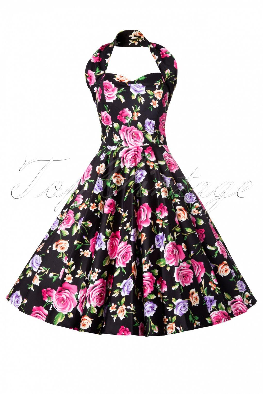 Vivien of Holloway - 50s Retro Floral Black Swing Dress