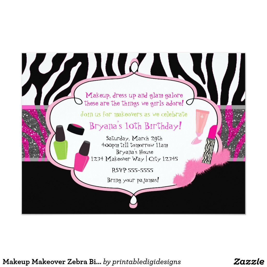 Makeup Makeover Zebra Birthday Party Invitation Birthday Party