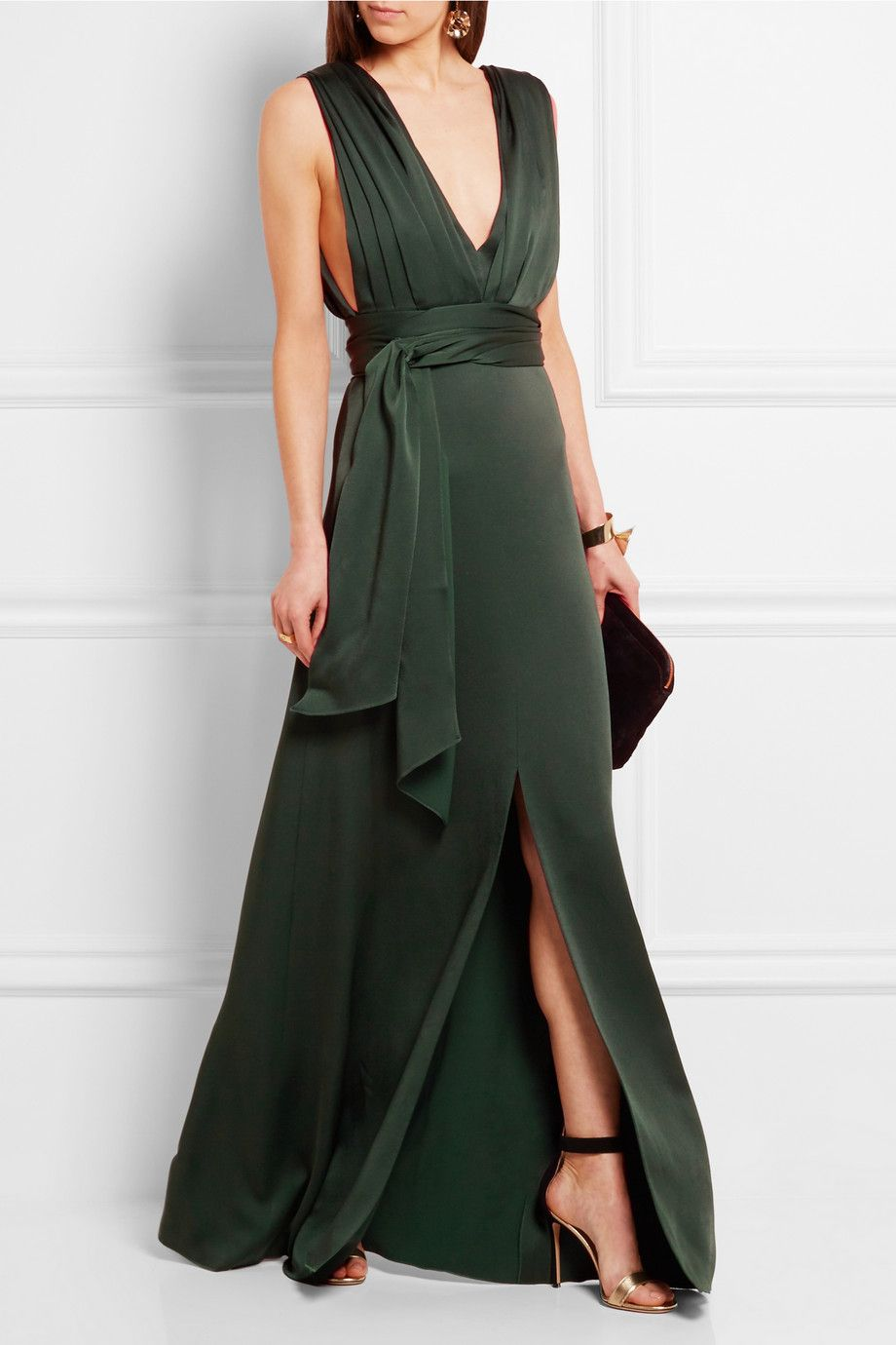 Victoria beckham draped satin gown netaportercom style