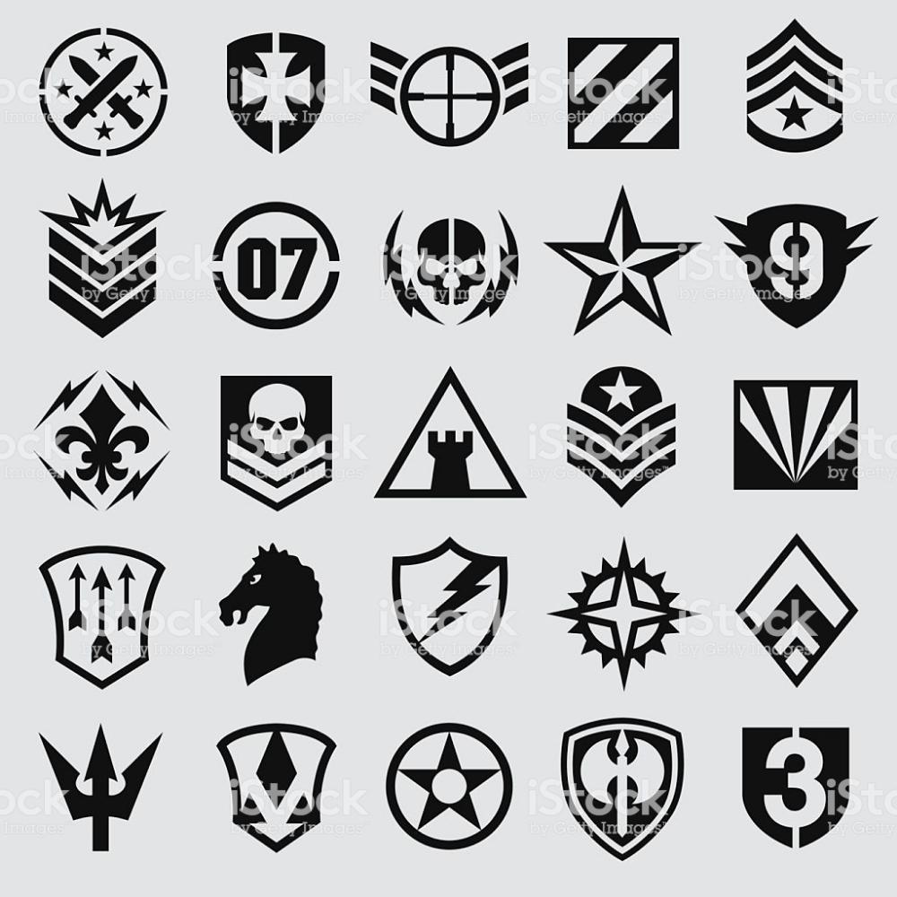 Assortment Of Military Inspired Icon Symbols Suitable For Multiple Military Logo Symbol Design Logo Design