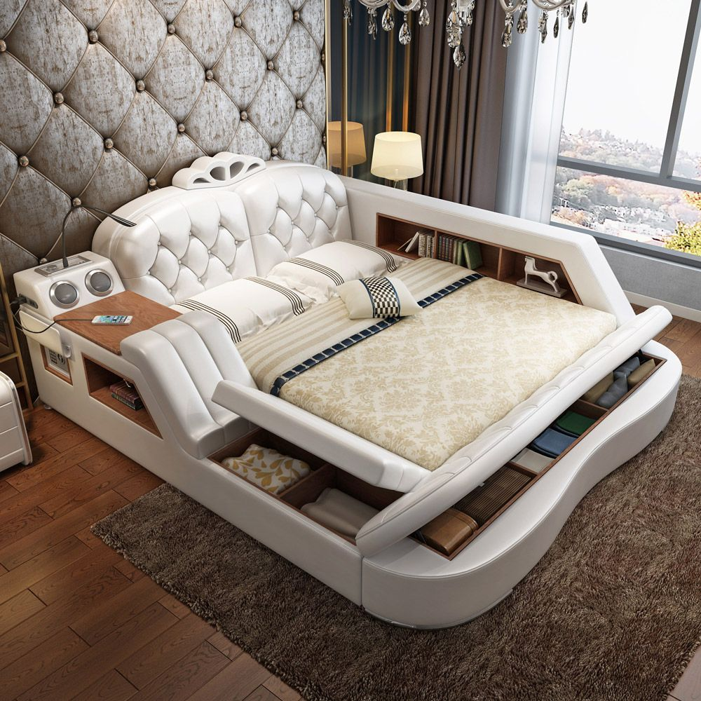 massaging leather bed tatami bed leather art. Black Bedroom Furniture Sets. Home Design Ideas