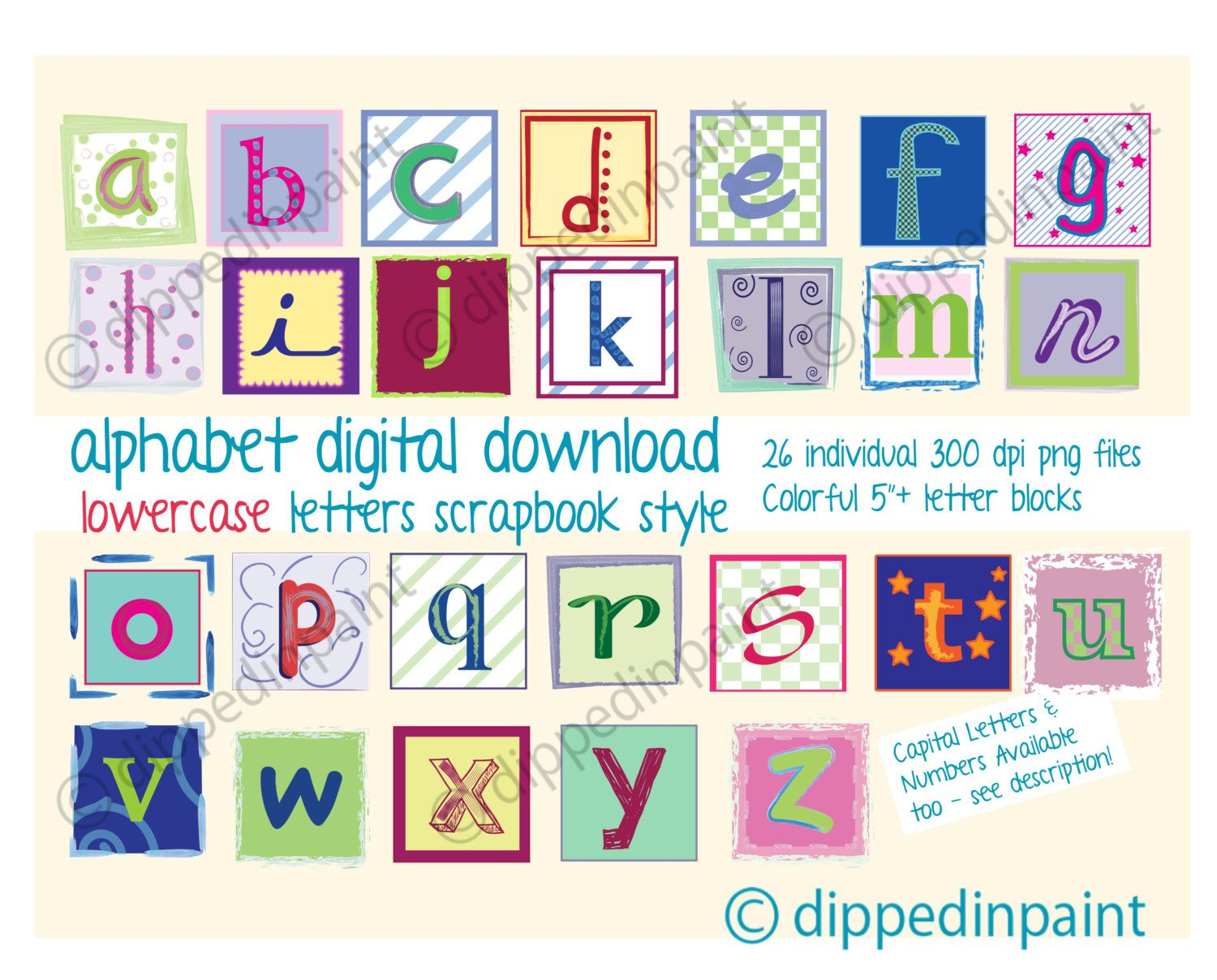 How to scrapbook letters - Alphabet Digital Download Colorful Letter Blocks Baby Digital Letters Photographers Commercial Use