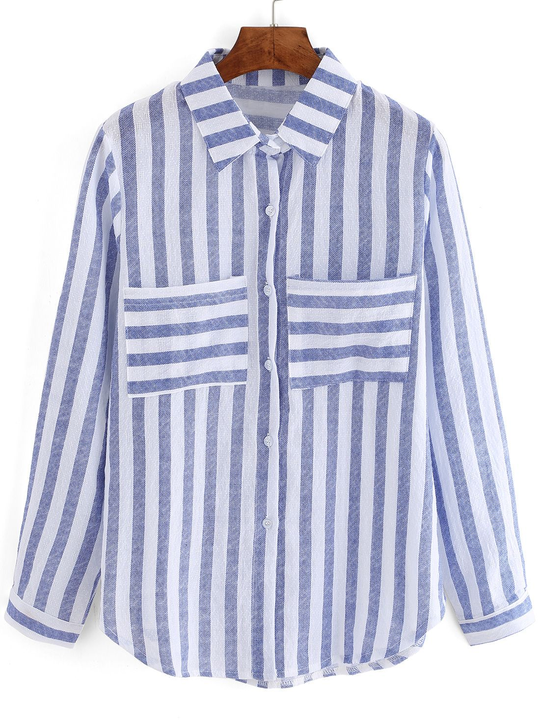 994f4a62037 Blusa+rayas+verticales+bolsillos+-azul+blanco+13.31 | Cosas que ...
