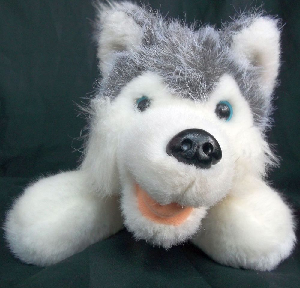 Alaskan Malamute Husky Gray White Plush Dog Alaska Ribbon