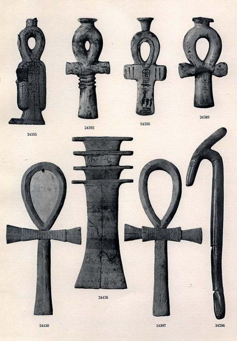 Knot of Isis (life, welfare), Ankhs (life), Scepter of Set (aka Was scepter, power or dominion), and the Djed pillar (stability)