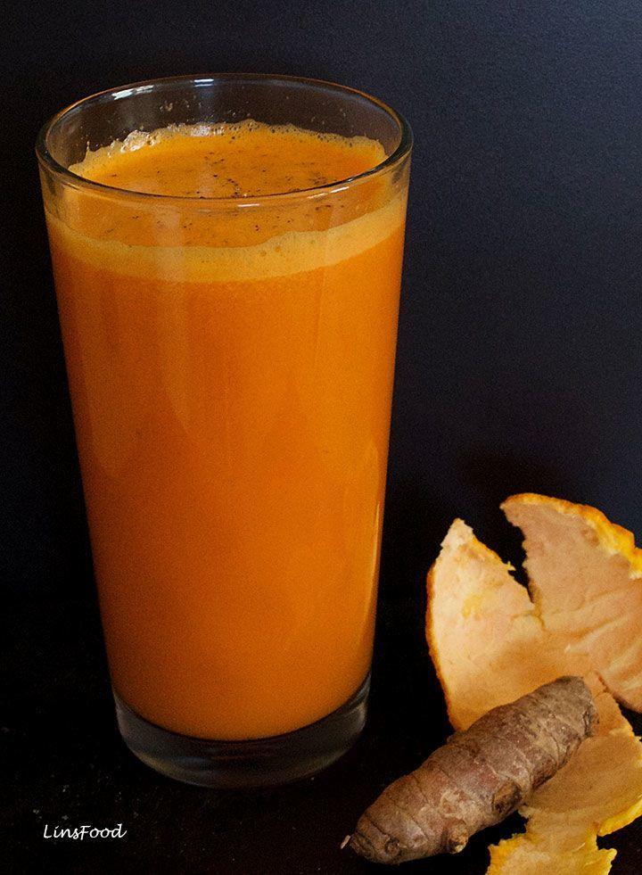 Carrot orange turmeric and ginger juice homemade