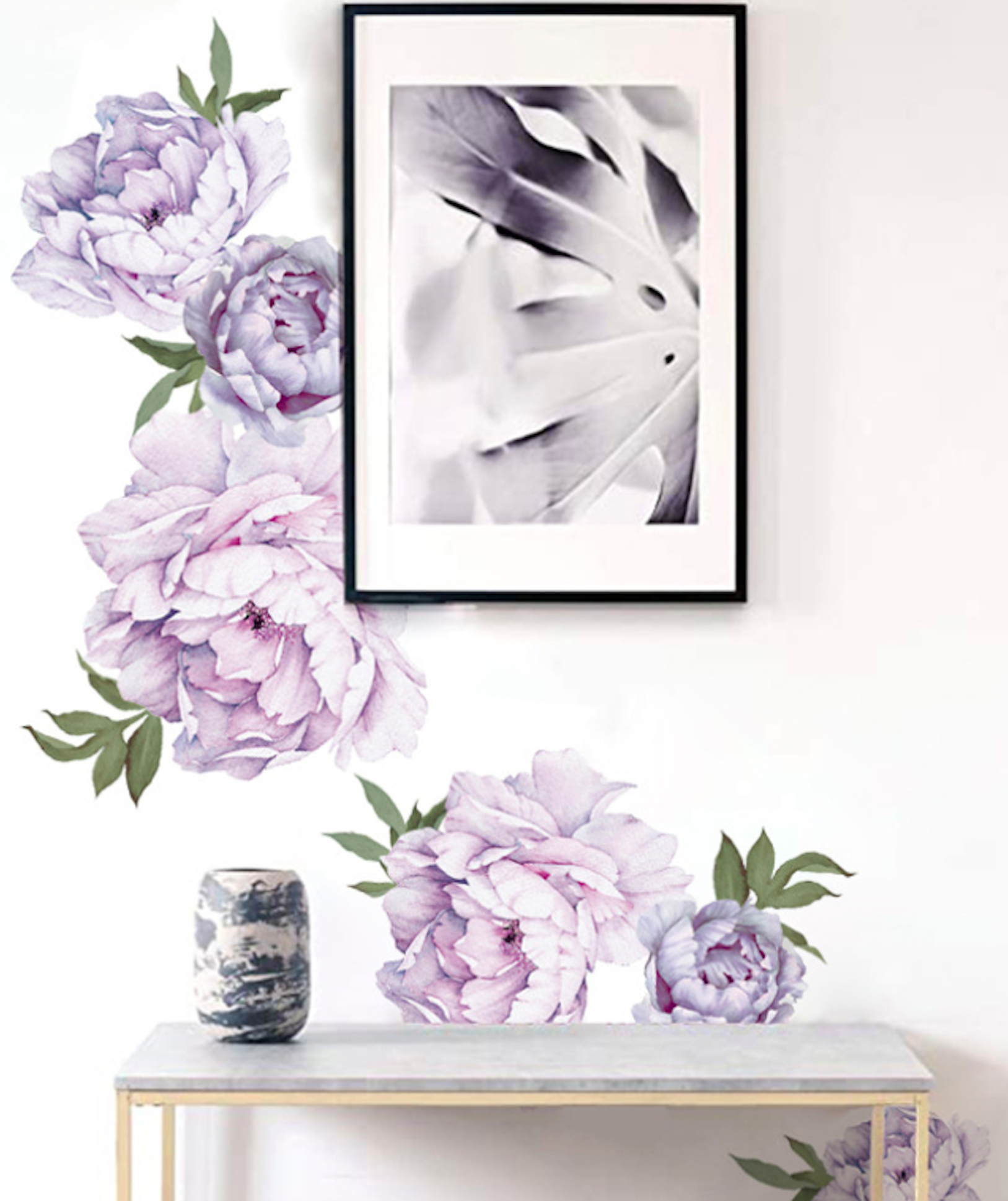 Purple Floral Nursery Decor Peony Wall Stickers Flower Wall Sticker Floral Wall Decor Baby Girl Wallpaper Removable Room Decal Flower Wall Decals Floral Wall Decor Flower Wall