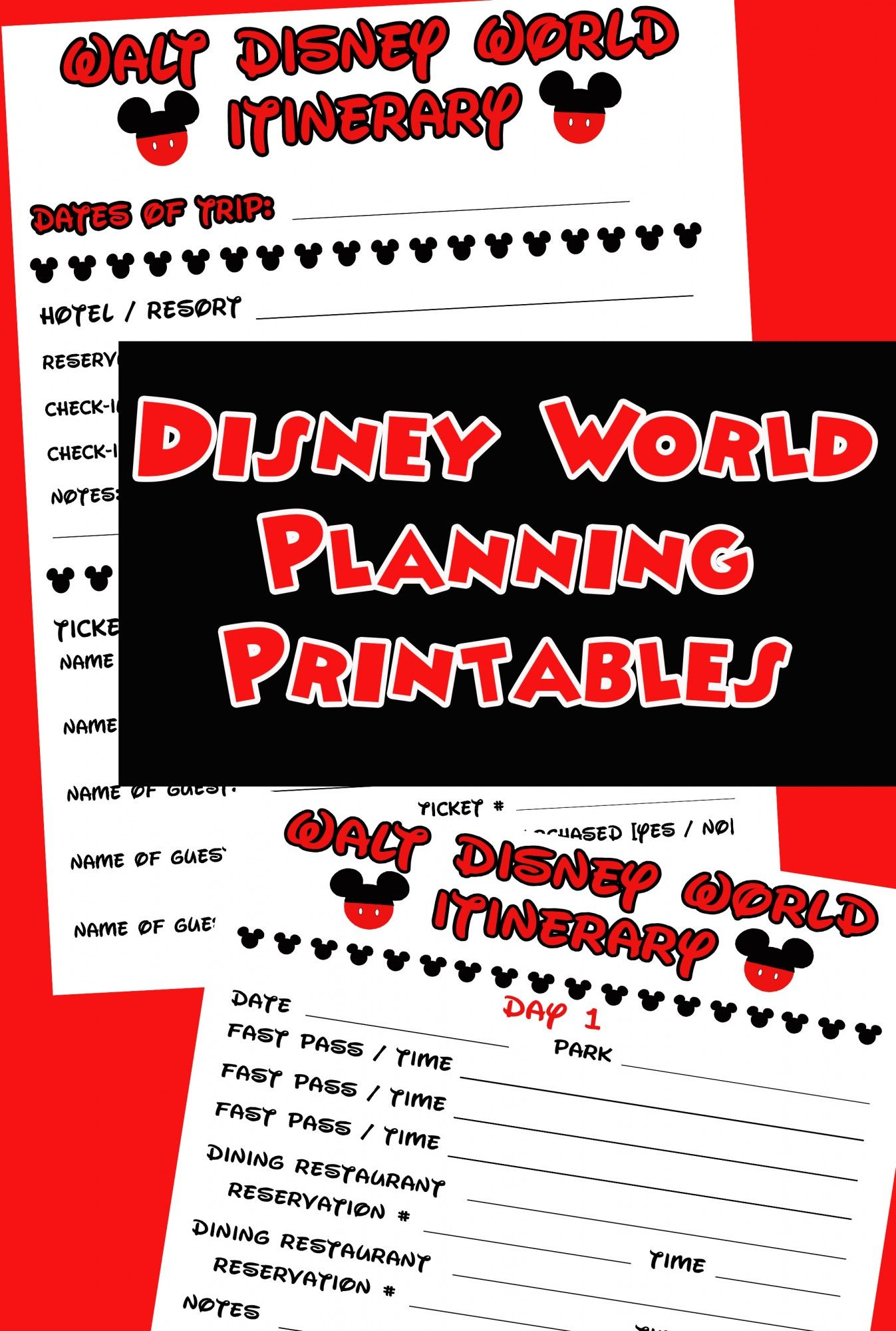 Free Disney Itinerary Printable