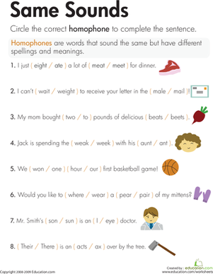 Homophones: Same Sounds | Spelling worksheets, Phonics and ...
