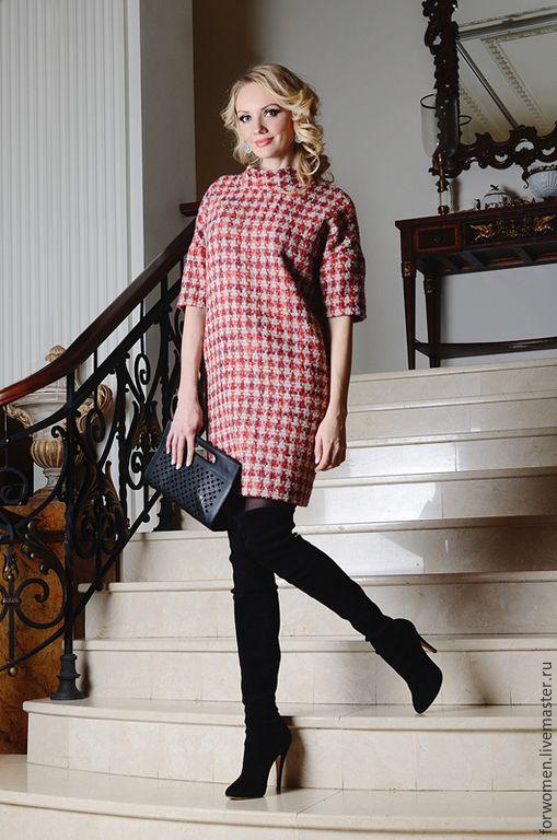 b4f836b1bc3fed2 Купить Платье гусиная лапка, красно-белое - бордовый, гусиная лапка,  красное платье