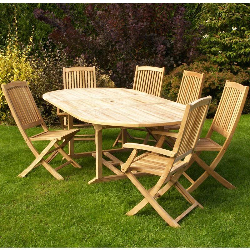 Salon de jardin en teck sumbara 21 1 table ovale 4 - Table de jardin ovale en bois exotique ...