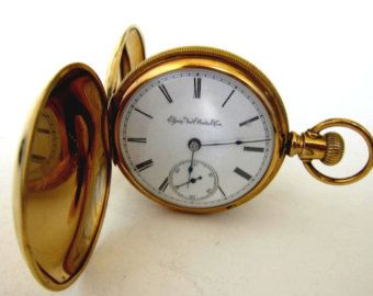 039f495a4 Antiguo 10K oro lleno ELGIN reloj de bolsillo, tamaño 18,15 joyas, caso de  Hunter, Serviced, RUN! #2