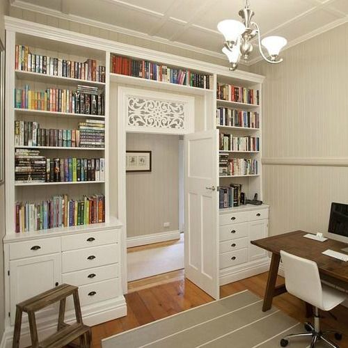 Bookcase built around and over the door - Book Shelves Around Door Used 3 Billy Bookcases To Build Shelves