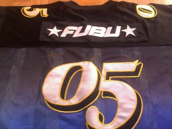 FUBU jersey, vintage blue t-shirt of 90s hip-hop clothing