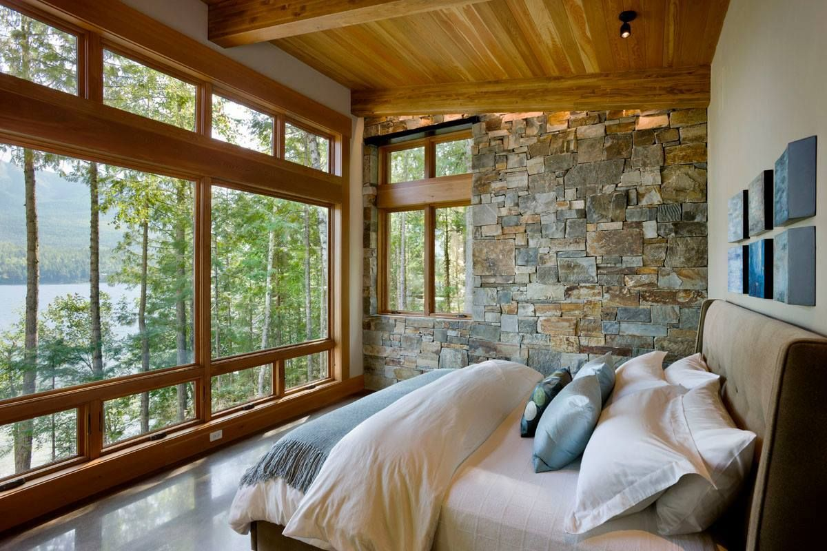 Rustic lake house cabin bedroom love the view sweet for Home master