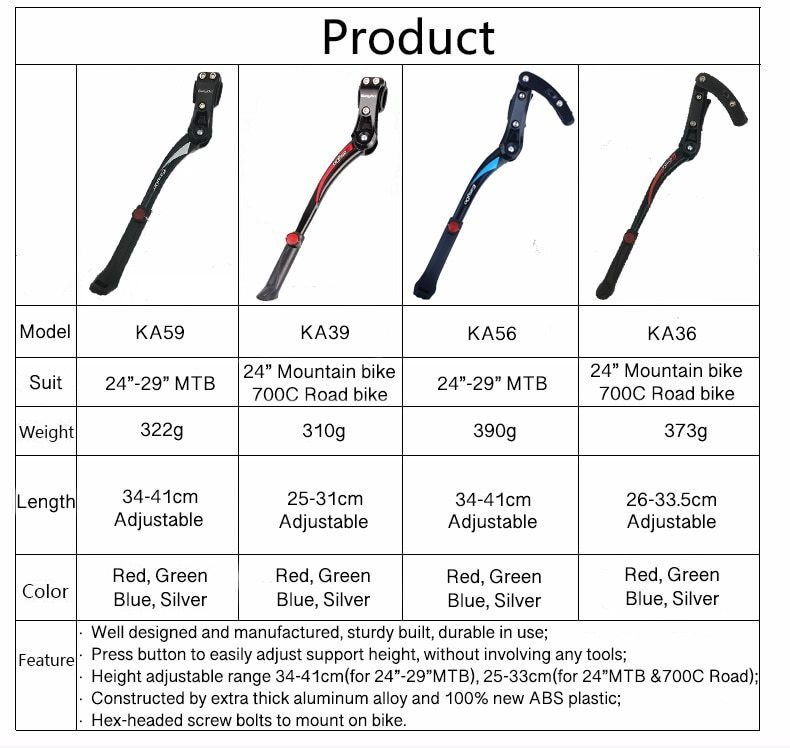 Bicycle Bike Stand Parking Bracket Kickstand Cycling Foot Support Aluminum Alloy