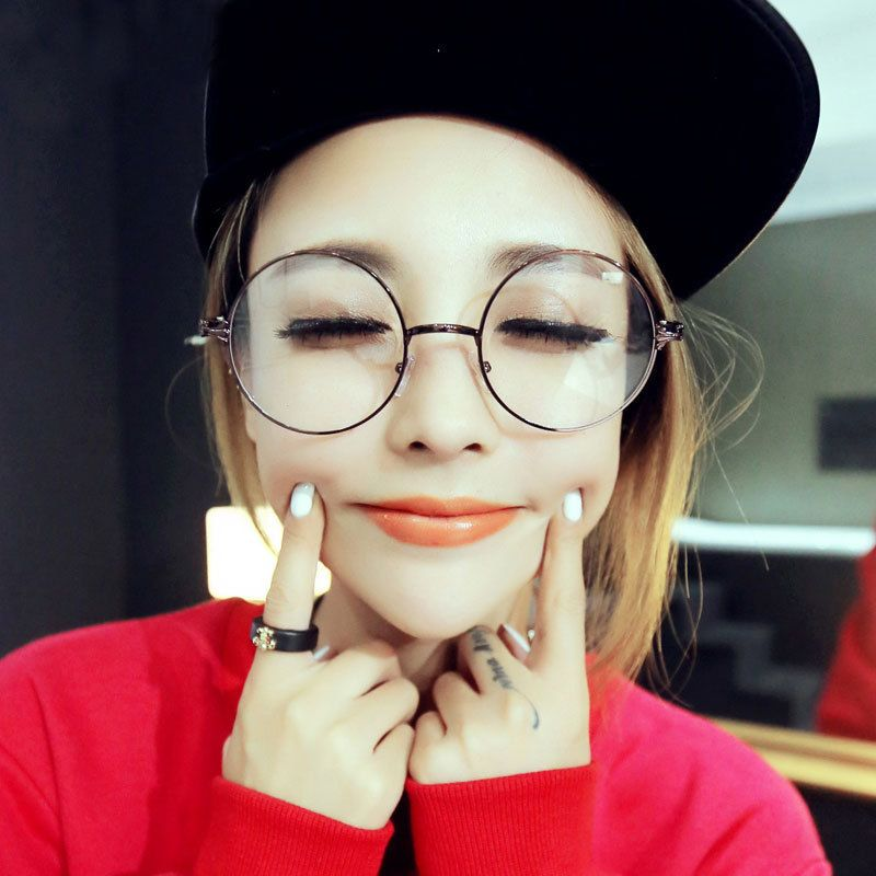 VWKTUUN Round Oversized Glasses Frame Women Men Eyeglasses Optical ...