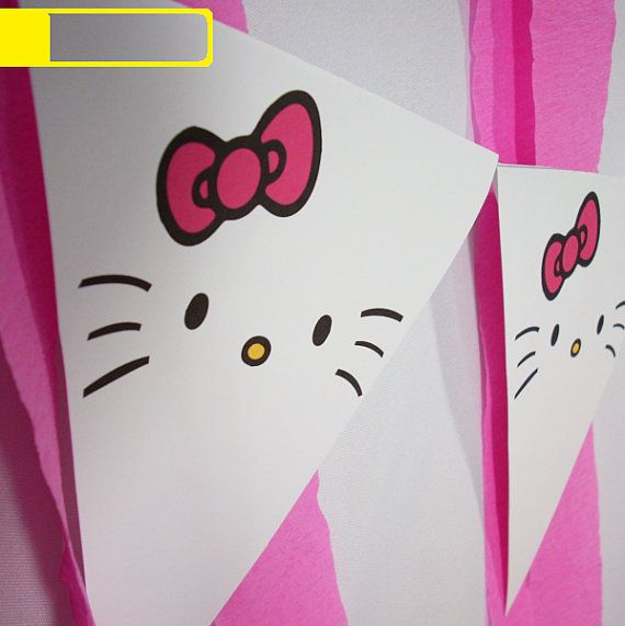 Hello Kitty Inspired Pennants Instant Download, Birthday