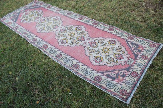 "Turkish Pink Runner Rug, Handmade Vintage Hallway Home Decor Wool Turkish Runner Rug, Anatolian Pink Decorative Wool  Rug 285x93cm,114""x37"""