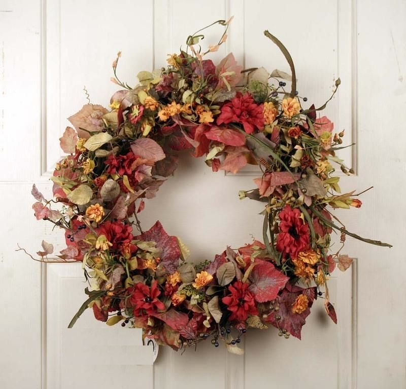 Fall Blossom Silk Door Wreath 22 Inch Silk Door Wreath Wreaths Door Wreaths