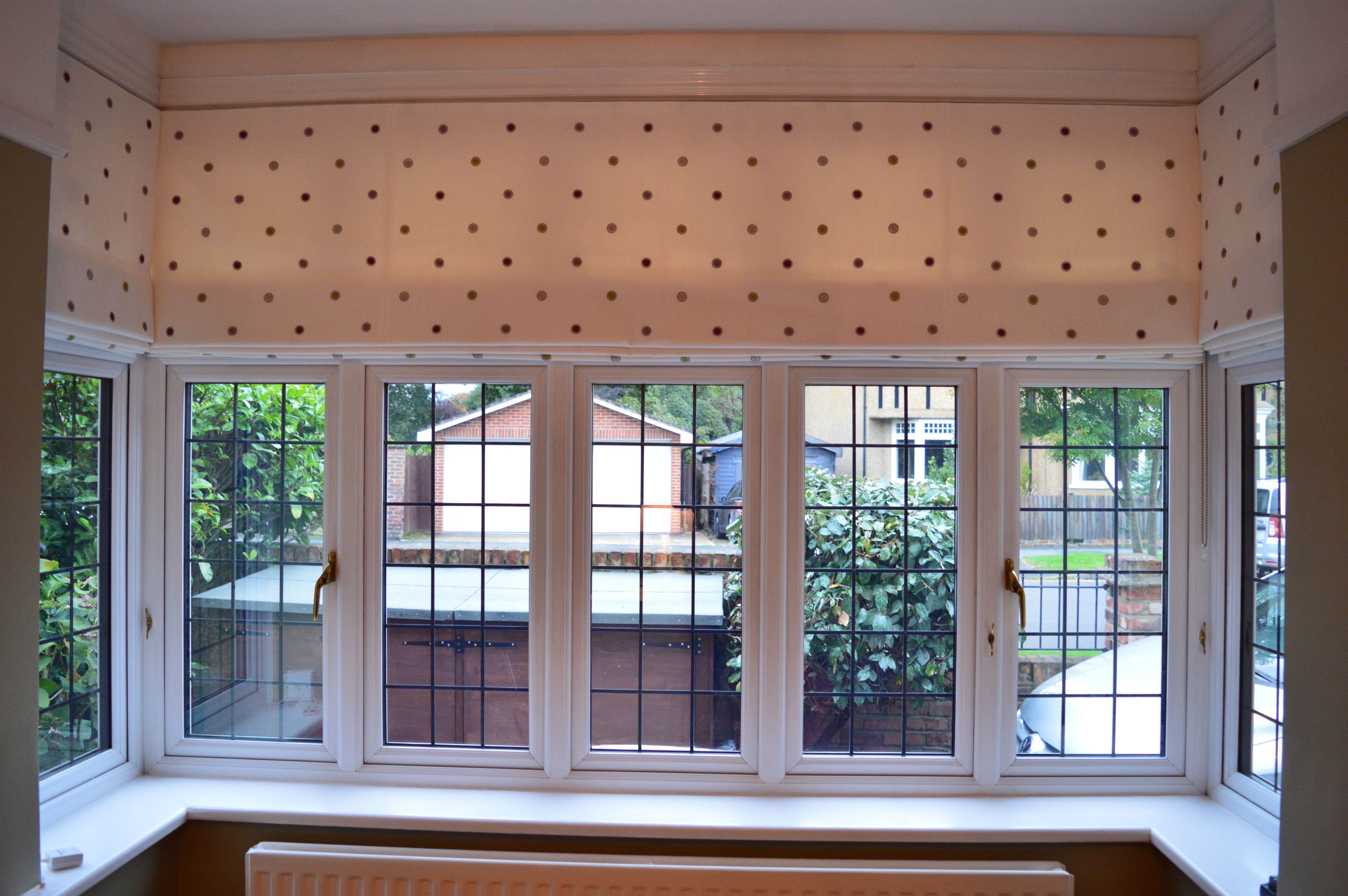 Clarke Amp Clarke Embroidered Spot Fabric On 3 Roman Blinds