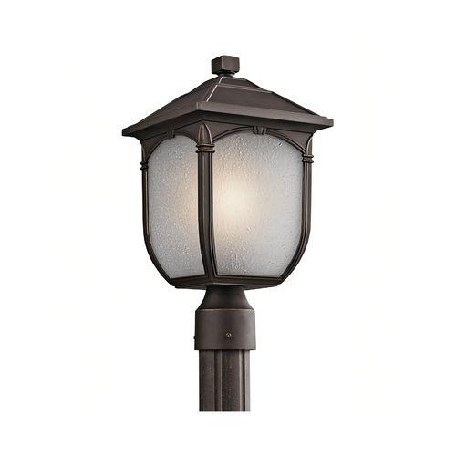 Kichler Lighting Post Light With White Glass In Olde Bronze