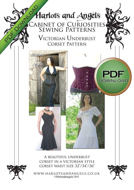 Corset Sewing Pattern, Steampunk Digital Download Large Size | corset
