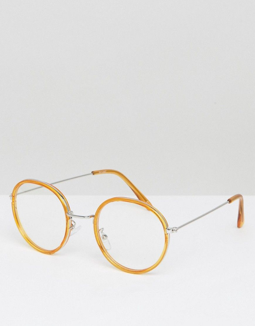 ASOS Round Glasses In Honey Double Layer Frame - Brown   Round glass ... f2374f90efda