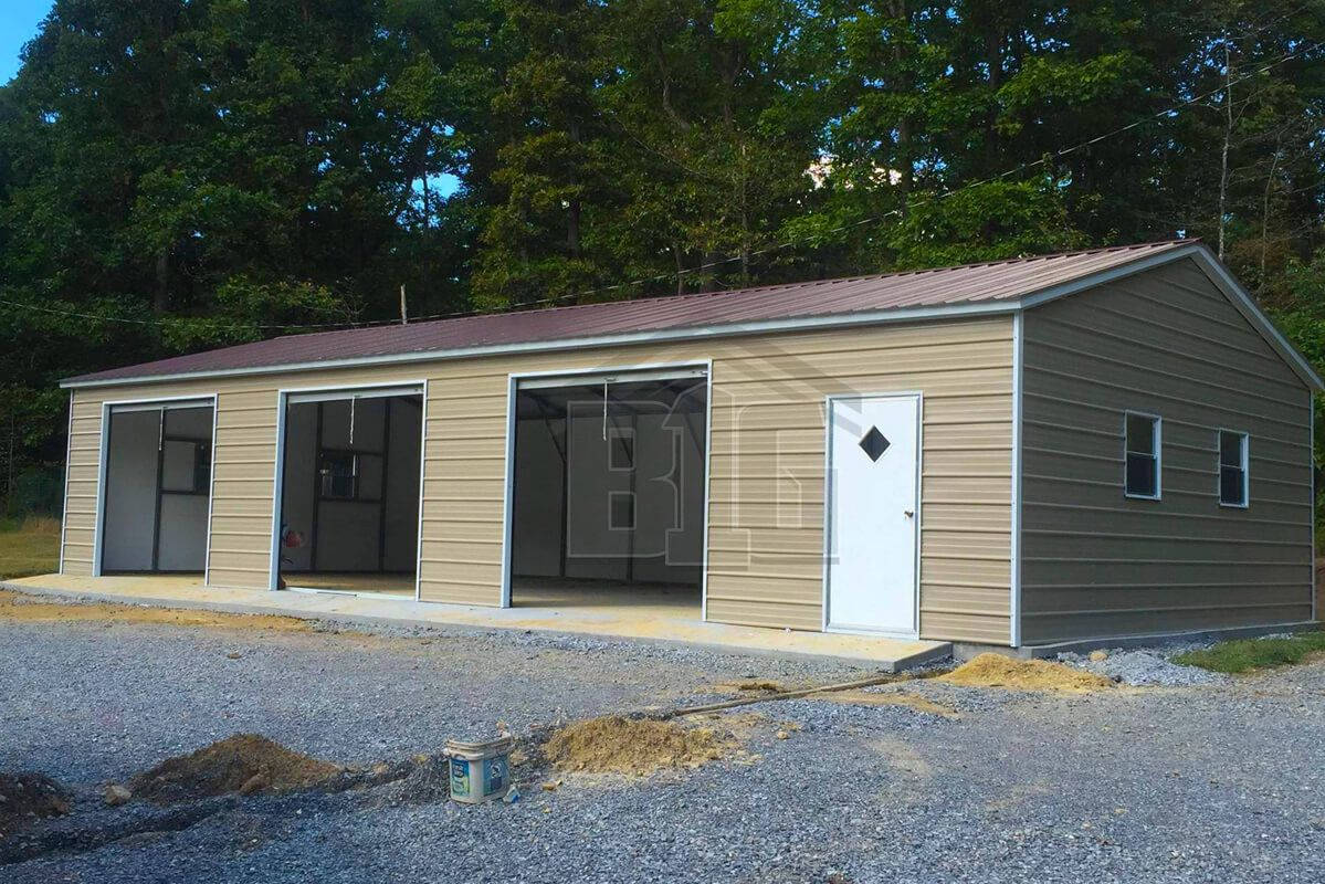 The Ready Garage 18x45x9 Big Buildings Direct In 2020 Garage Door Styles Garage Door Design Garage Door Installation