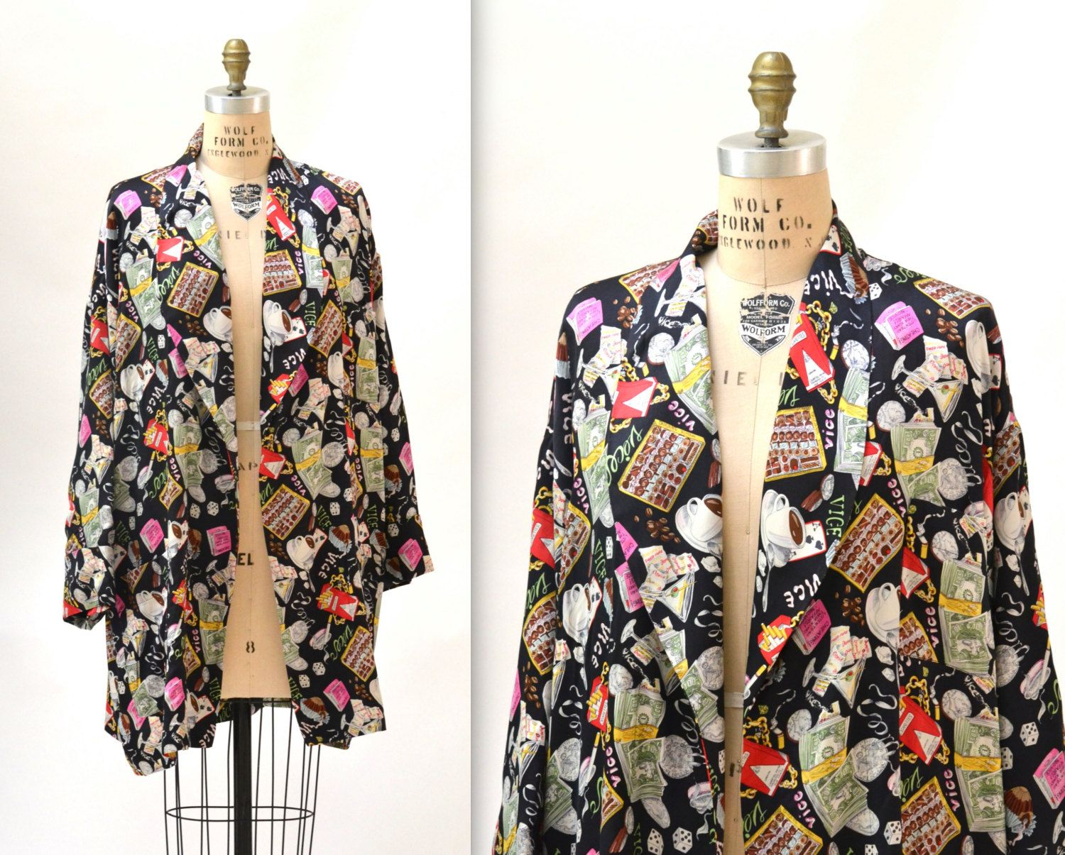 80f896249c4d77 90s Vintage Nicole Miller Silk Shirt Mens Silk Robe Size Medium Large with  Vices Smoking
