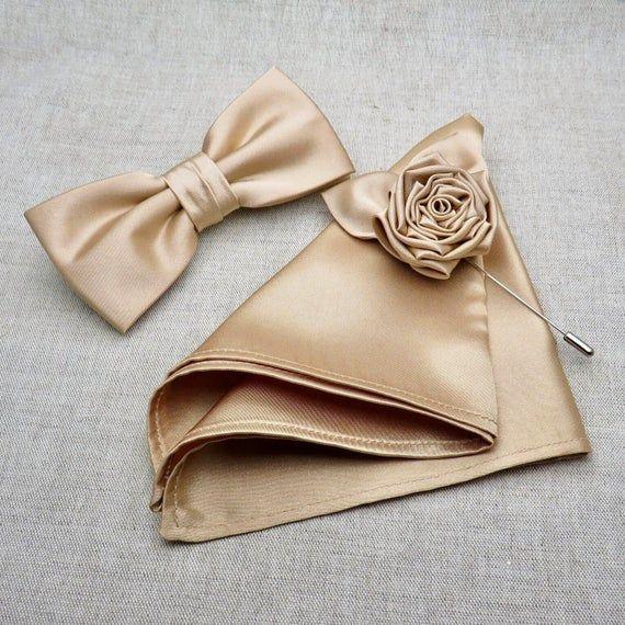 Dark Champagne Bow tie, Rose Lapel Pin & Pocket Square, Champagne Bowtie for Wedding, Champagne Bow tie, Mens Bowtie, Groomsmen BowTie