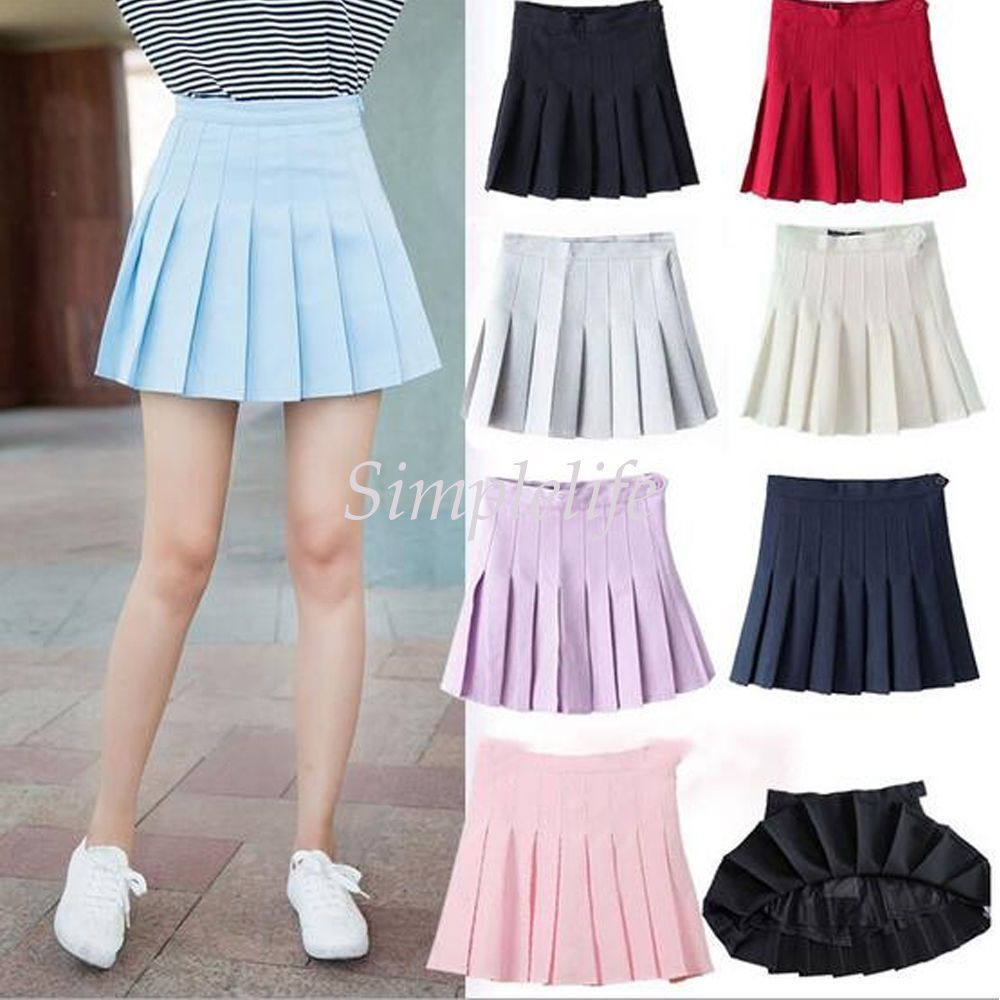 2110caeb32 Tennis High Waist Plain Skater Flared Pleated Short Skirt Shorts Women  Girls #ebay #Fashion