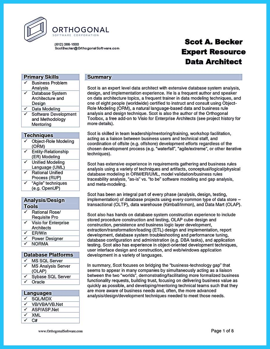 Software Architect Sample Resume Awesome Incredible Formula To Make Interesting Business Intelligence .