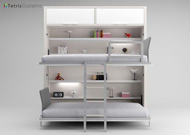 Litera abatible con repisas interiores y altillos - Litera abatible precio ...