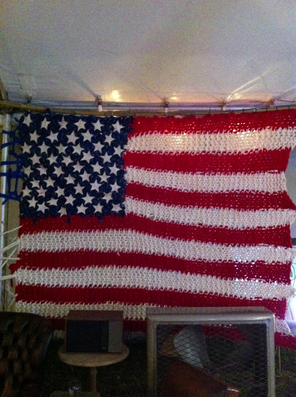 Loopy Mango at Art Basel Miami - giant American flag hand knit with ...