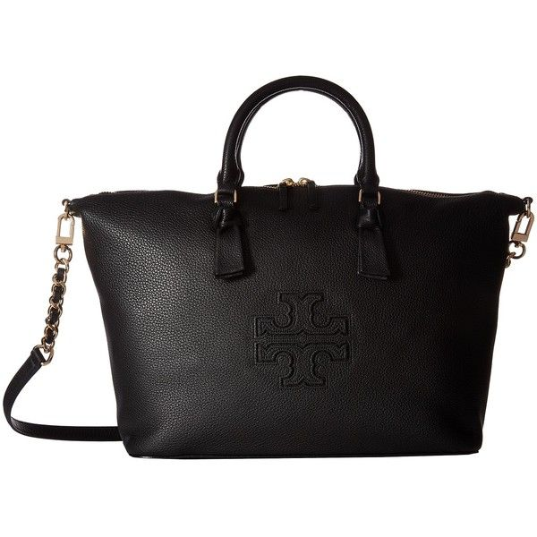 5a60764986c2 Tory Burch Harper Slouchy Satchel (Black) Satchel Handbags ( 300) ❤ liked  on Polyvore featuring bags