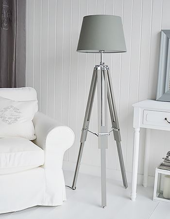 Grey and white living room home accessories. Grey tripod ...