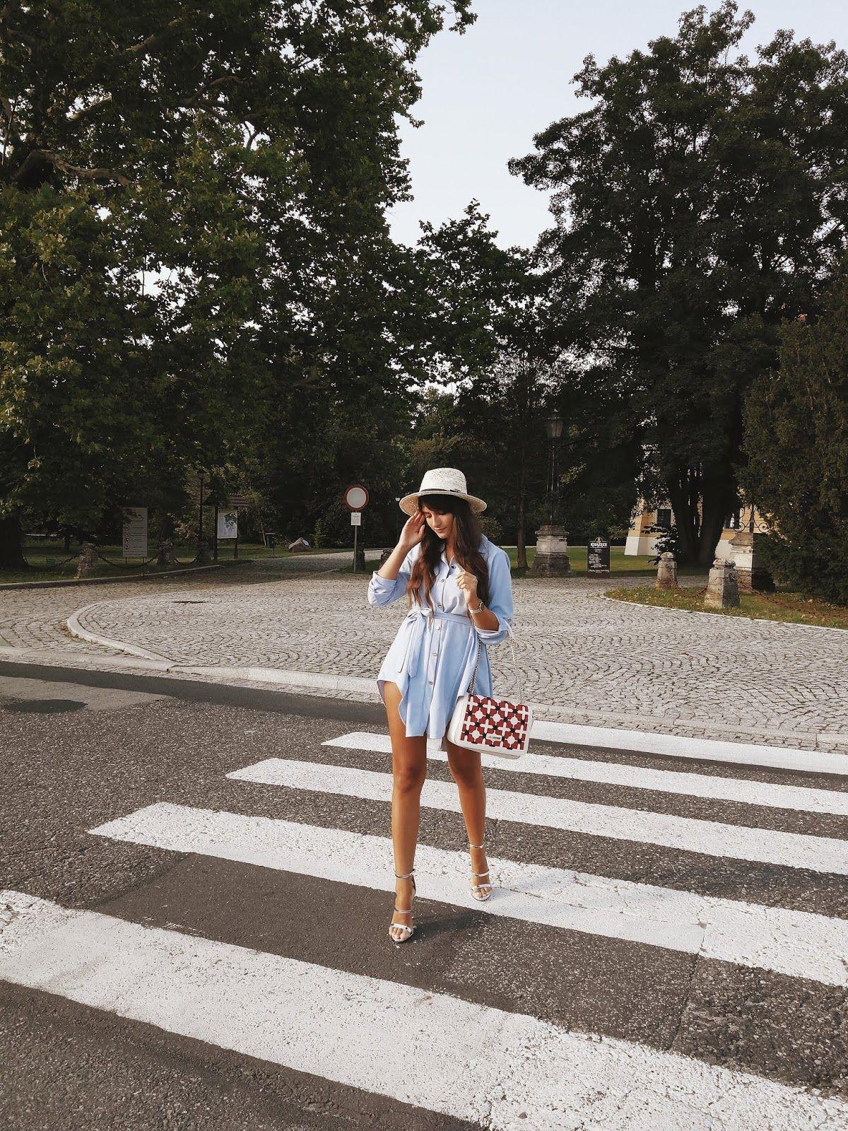Blue Shirt Dress Outfit Silver Higheels Outfit Love Moschino Handbag Summer Style Inspo Shirt Dress Outfit Blue Shirt Dress Fashion Inspo
