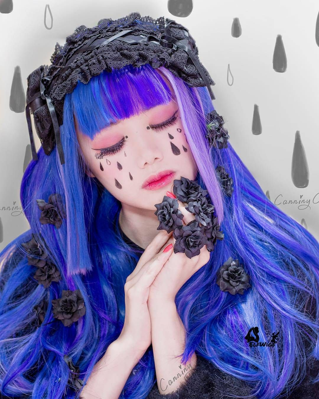 Gothic style length to chest strapHalf blue half purple synthetic Lace Front Wig-SD063  This is our sweet @canniny  Do you like it?  COUPON Code: ELFIG1101  Up to $25 discount  #hair #wig #elfwigs #cosplay #fashion #perfect