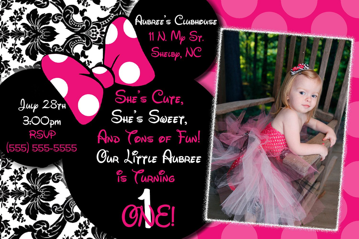 Pink Damask Minnie Mouse Invitations With Free Thank You Card In