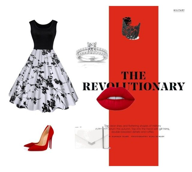 """""""Vintage red"""" by mandmcarter24 ❤ liked on Polyvore featuring Christian Louboutin, Stella & Dot, Annello, Lime Crime, Jimmy Choo and vintage"""
