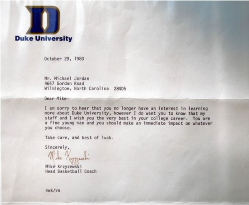 Coach Ku0027s letter to Michael Jordan after learning he wouldnu0027t be - college basketball coach sample resume